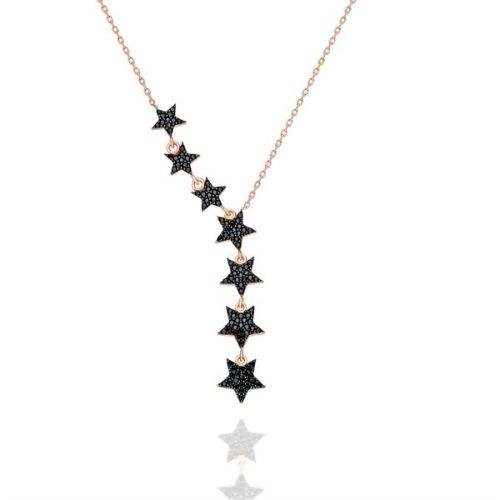 Siyah Taşlı Yıldız Kolye